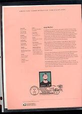 #3652 37c Andy Warhol USPS #0225 Souvenir Page