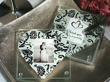 96 Sets of 2 Black & White Heart Damask Glass Photo Coaster Bridal Wedding Favor