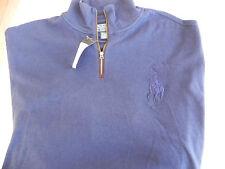 NEW RALPH LAUREN BLUE MOCK NECK 1/2 ZIP COTTON SWEATER BIG PONY MACYS $165 XXL