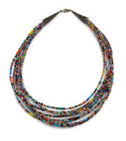 Vintage Women's Multi Colour Layer Layered Strand Bugle Seed Bead Necklace