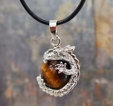 Tigers Eye Stone Dragon Ball Pendant Necklace Reiki Healing Chakra Crystal Gift