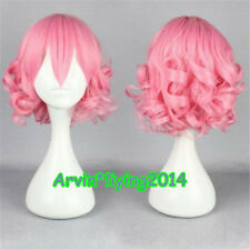 NEW Women Short Curly wig pink blue green White Cosplay Party Wigs+free wig cap