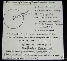 Glass Magic Lantern Slide MEASUREMENTS OF EARTH BY ERATOSTHENES ABOUT 200BC
