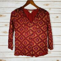 Lucky Brand Women's Size Small Red 3/4 Sleeve V-Neck Blouse Top