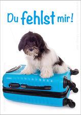 Süße DIN A6 Postkarte Grußkarte Hund Hundepostkarte Tierpostkarte Du fehlst mir