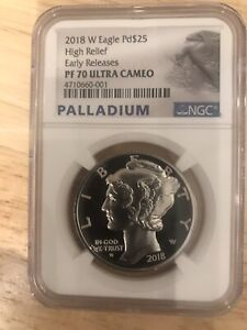 2018 Palladium Eagle PF 70 Ultra Cameo Early Releases Ngc Graded