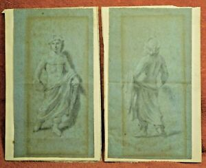 Antique Old Master Drawings French 1700s 18th century Semi Nude Classical Males