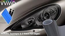 "VViViD Extra Wide Headlight Taillight Vinyl Tint Wrap 16"" x 48"" Roll Smoke Black"