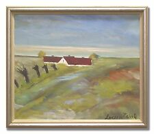 LOUIS ZELIG / LANDSCAPE WITH WILLOWS - Original Swedish Oil Painting