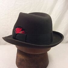 Vintage Dark Charcoal Gray Richman Brothers Fedora with Black Band - Size 7 1/8