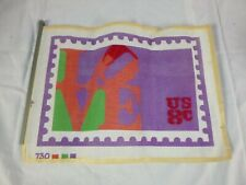 Vtg Needlepoint Canvas Robert Indiana LOVE Stamp 730 Partially Stitched 17x13