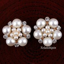 Pearl Ivory Crystal Button Clear Rhineston Flatback Buttons For Wedding 20pcs