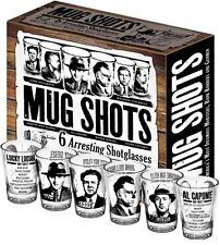 Mug Shots Shot Glasses, Famous Gangsters, Set of 6, by Unemployed Philosophers