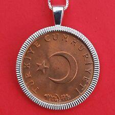 TURKEY TURKIYE 1971 10 KURUS CRESCENT MOON STAR Coin Sterling Silver Necklace