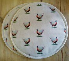 Pair of Aga Hob Lid Covers Pheasants with Loop, Free P&P