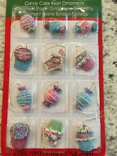 Lot of 12 Christmas Cupcake Candy Glittery Mini Ornaments Country Primitive