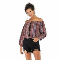 Boho casual loose floral tops blouse off shoulder t shirt summer shirt Women