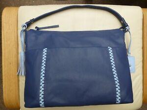Large Blue Leather Handbag