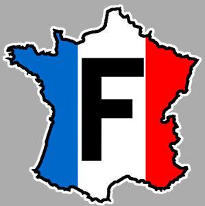FRANCE CARTE F DRAPEAU 12cmX12cm AUTOCOLLANT/STICKER AUTO FA125