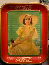1938 Coca-Cola Tray Girl In Yellow Dress Sitting  Drinking Coca Cola
