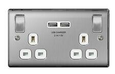 BG Nexus USB Double Socket Decorative Metal Finish 2 x USB Ports 3.1A Amp