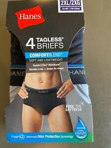 Hanes Tagless Briefs 4 Pack 2XL Comfort Flex Waistband Soft Black Gray NIB