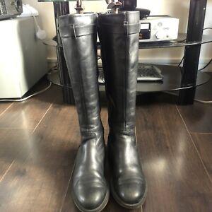 Ecco Women Black Knee Boots With Straps Uk 6 Eu 39