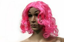 Pink Curly Short Bob Hair Wig Costume Prop Accessory Dress Up Theme Party