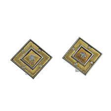 Buccellati Prestigio Diamond Gold Square Earrings