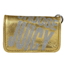 NEW Juicy Couture Metallic Leather Skinny ID Case w/ keychain gold