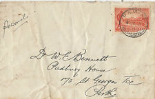 Postmark PINJARRA Western Australia on 2d red Victoria Centenary stamp on cover