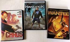 Lot 3 DVD Movies CHAOS Jason Statham HANCOCK Will Smith WANTED Morgan Freeman