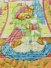 """Handmade Baby Quilt Teddy Bear Bunnies Pastel Colors 31"""" x 40"""" Hand Quilted"""