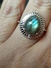 Natural 4.7ct fiery pear cut labradorite halo ring solid 925 silver size O 7.5