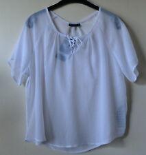 Weißes Blusenshirt Kurzarm mit Zierband am Ausschnitt Gr. XS NEU