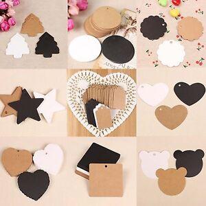 100 x Kraft Paper Gift Hang Tags Wedding Scallop Label Blank Luggage Xmas String