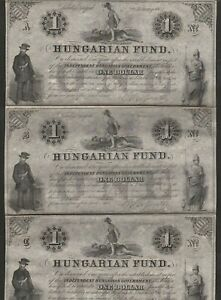 1852 HUNGARY 1 DOLLAR NOTE  UNCUT SHEET OF 3
