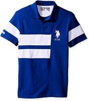 U.S. Polo Assn. Mens Short Sleeve Color Blocked Slim Fit Pique Shirt