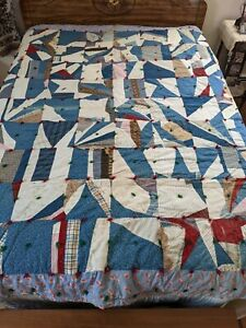 Vintage Heavyweight Crazy Quilt Feedsack Fabrics Embroidered Name Zora 80 x 85
