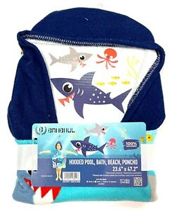 Dawhud Direct Kids Shark Cotton Hooded Poncho Bath Beach Pool Towel