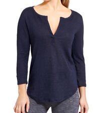 Athleta Zephyr Top XS Navy Blue Linen 3/4 Sleeve Henley Shirt Women's