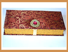 Card Board Jewelry Multi Use Box with Brocade Cloth from India!