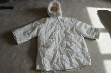 Acne Studios White Shearling Layered Epic Tech Parka Coat Womens EU 36 / UK 8