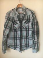 "Men's Shirt Size M 40"" Navy Green Check American Outfitters <T15584z"