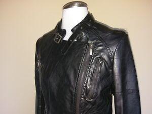 Vegan Leather Motorcycle Jacket Bomber Moto Black Womens Small Sophia Max Azria