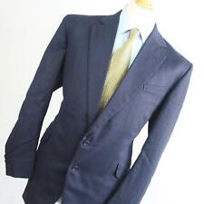 Suit Essential Mens Blue Suit 44/40 Long Single Breasted Wool Blend Herringbone