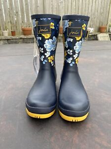 Joules Size 8 Navy & Yellow Floral Print Molly Mid Height Wellies - So Pretty!