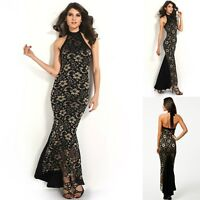 Sz S 8 10 Halter Black Gold Lace Sexy Formal Cocktail Gown Party Maxi Long Dress