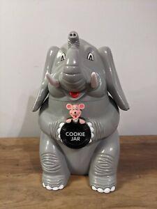 1999 The Original Elephant Cookie Jar Hard Gray Plastic Roars Like Elephant