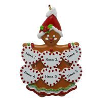 PERSONALIZED Gingerbread Grand Kids - Family of 6 Christmas Tree Ornament